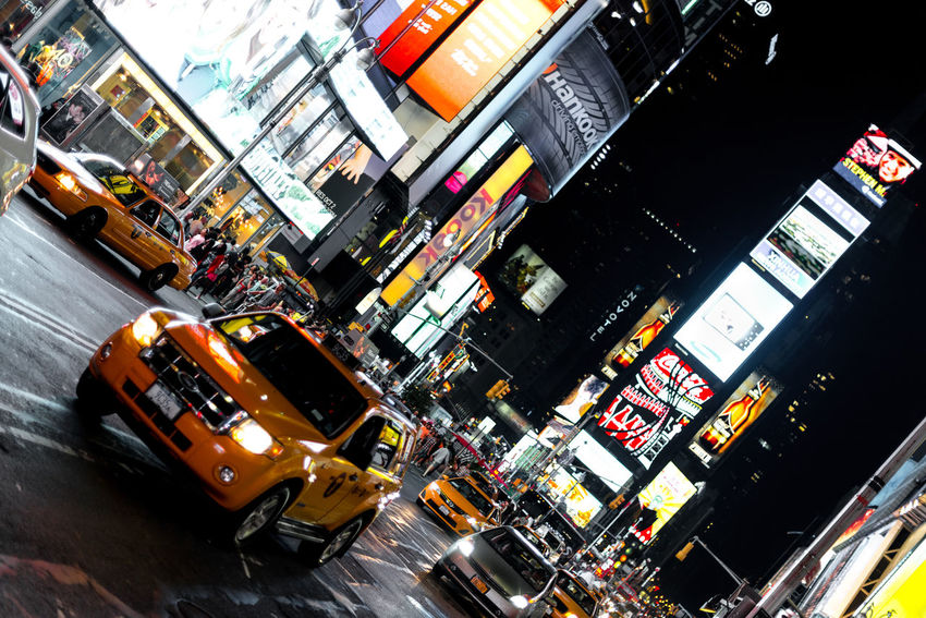 Taxi in Times Square at night, New York City American Culture Billboard Cab Lights Manhattan New York New York City Taxi Times Square Traffic United States Urban Scene