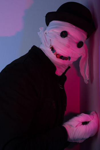 One Person Portrait Real People Costume Lifestyles Spooky Clothing Indoors  Celebration Fear Leisure Activity Night Looking At Camera Front View Pink Color Halloween Nature Horror Child Evil Obscured Face Halloween Horror Mask