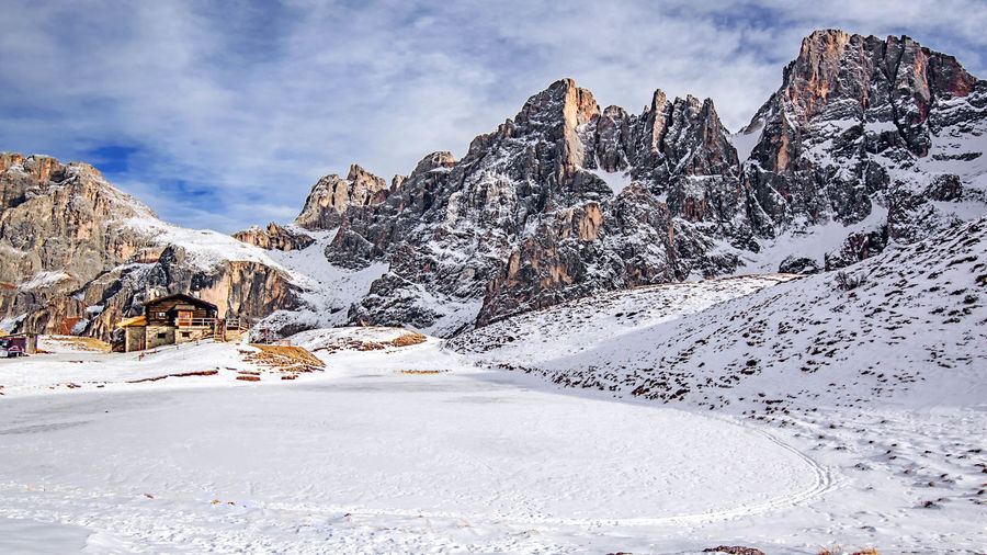 A dream of art and nature. Travel Sky Snow Outdoors Nature Day Beauty In Nature Winter White Tranquility Mountain Mountains And Clouds in Trentino  Trentino Alto Adige Baita Segantini Pale Di San Martino