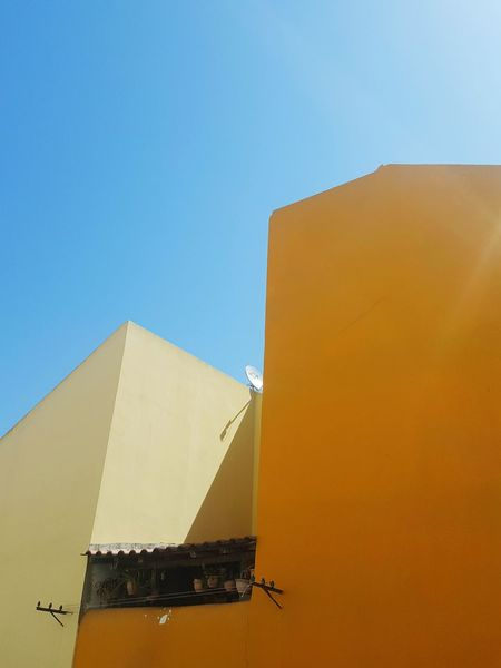 Never Miss A Blue Sky Buildings & Sky Yellow Wall Yellow House  Urban Architecture Urban Skyline Perspective Portuguese Architecture Steeetphotography