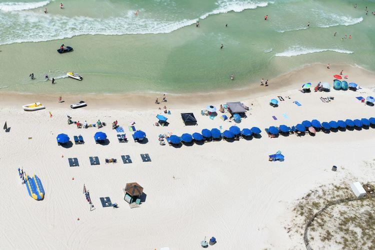 Aerial view of people oat beach