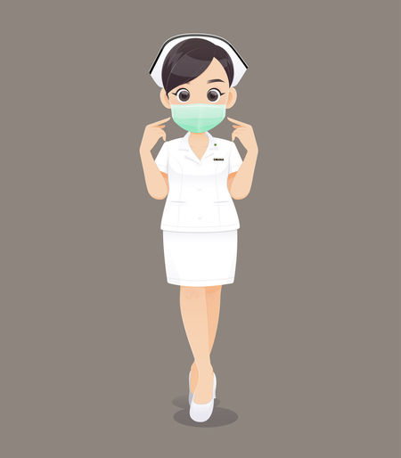 Nursing wears a protective mask Protective Mask Nurse Nursing Health Care Health Mask Close Nose Mouth Protective Cloth Protect Nurses Character Cartoon Cute Woman Face Professional Present Medical