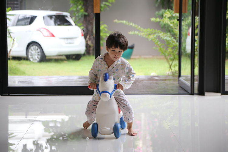 Girl Playing With Toy Horse At Home