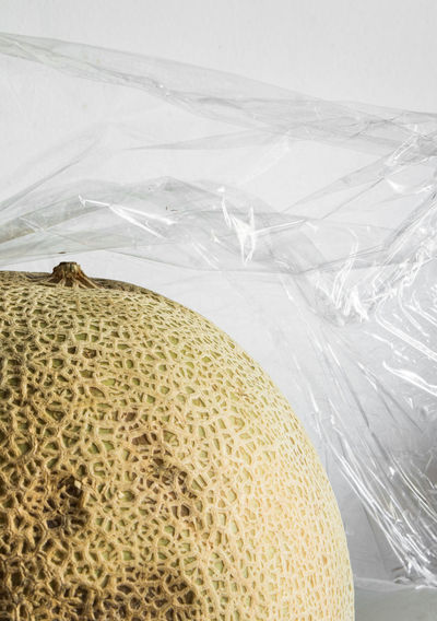 Plastic Pollution Domestic Life End Plastic Pollution Everyday Life Nature In Plastic Plastic Wrap Close-up Consumerism Contrast Fruit Household Equipment Melon Plastic Plastic Waste Polythene Recycling Social Commentary Social Responsibility Still Life