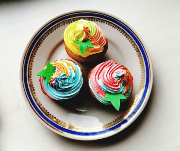 High angle view of cupcakes on table