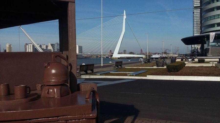 Amerika Lijn Erasmus Bridge Metal Outdoors Rotterdam Transportation Traveling Water