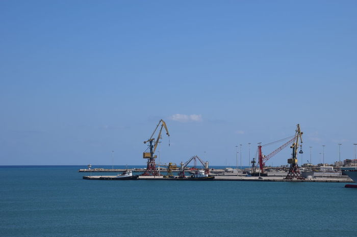 seashore at Heraklion Business Finance And Industry Clear Sky Day Drilling Rig Environment Fossil Fuel Fuel And Power Generation Industry Nature No People Offshore Platform Oil Industry Outdoors Refueling Scenics Sea Sky Water