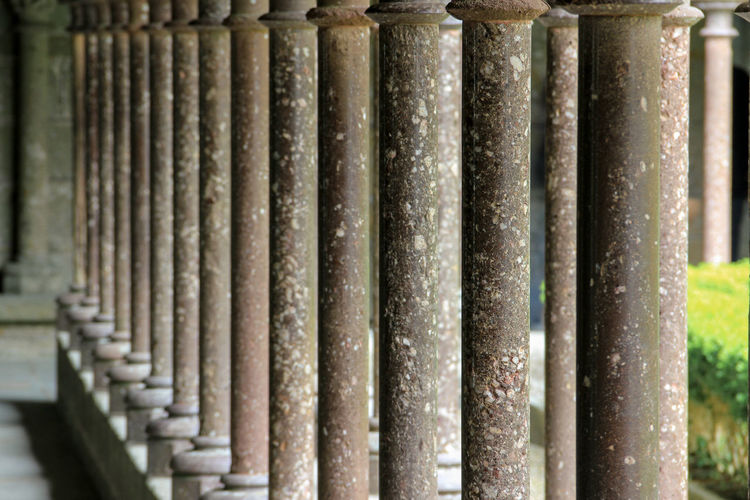 Amidst thousands of tourists a place of tranquility and spirituality. Architectural Column Christian Cloister Detail Focus On Foreground Full Frame Gothic Architecture In A Row Middle Ages Monastery Mont St Michel No People Part Of Pattern Pillars Selective Focus Serenity Side By Side Stone Structure Tranquility