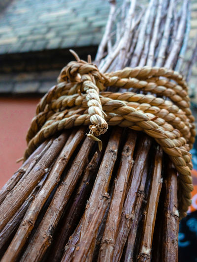 Close-up of sticks tied up