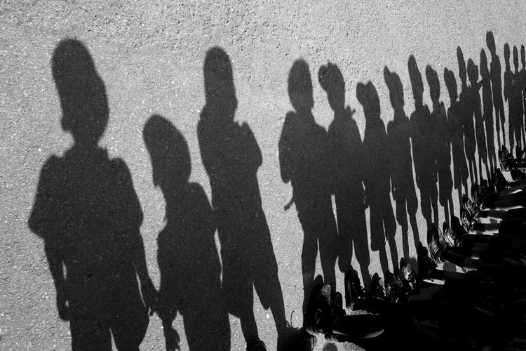 Creative Light And Shadow Rotated Line Up Light And Shadow Light Shadow Boyscouts Boys Black And White Bw Monochrome Photography