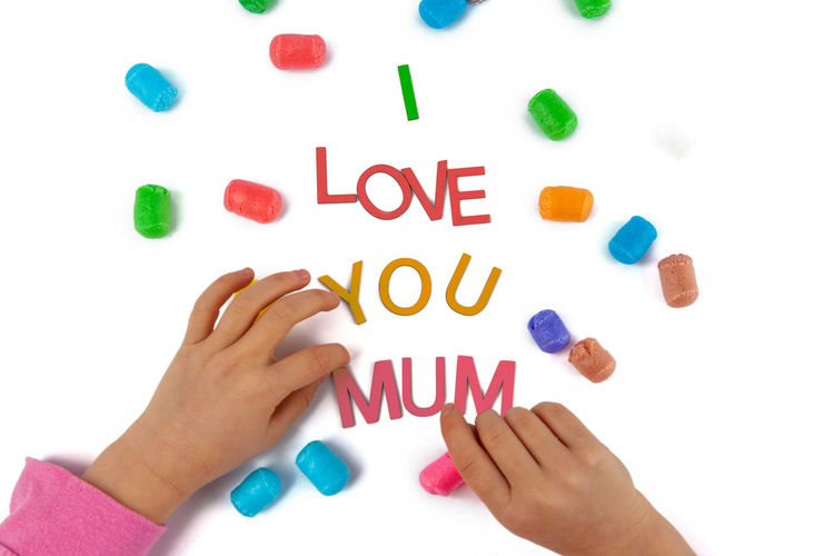 Design Background Care Celebrate Celebration Cheerful Child Childhood Childs Hand Concept Cute Day Family Female Fun Gift Hand Happy Holiday I Love You Isolated Kid Letters Love Mommy Mother Mothers Day Mum Parent Text Top View White You Young