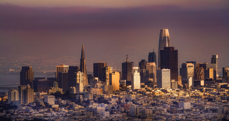 Impressive aerial view of  san francisco at sunset