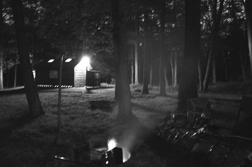 A fire, chairs, and an outhouse. Thats how we roll. 👊pound it! Bnw_friday_eyeemchallenge Long Exposure Twilight The EyeEm Facebook Cover Challenge The Great Outdoors - 2015 EyeEm Awards EyeEm Masterclass Black And White Nikon EyeEm Best Shots EyeEm Best Shots - Black + White