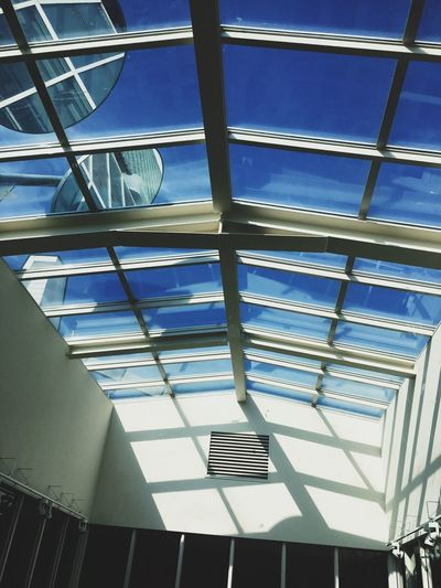 Architecture Built Structure Low Angle View Ceiling Indoors  No People Day Steps And Staircases Blue Building Exterior Architectural Design Go Higher