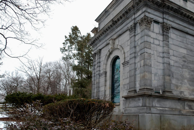 Arch Architectural Column Architecture Bare Trees Building Exterior Built Structure Cemetary Column Crypt Death Exterior Grave History Low Angle View Old Outdoors Outside Snow Stained Glass Tomb Winter