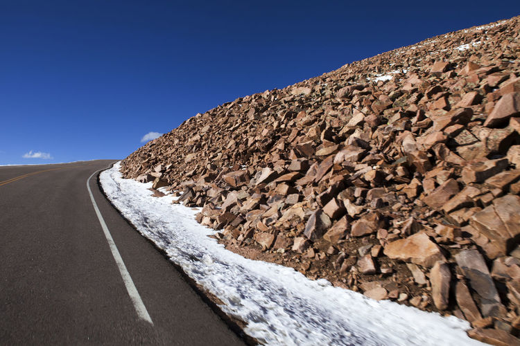 Clear Sky Colorado Fromcarwindow Landscape Nature No People Offroad Outdoors Pikes Peak Road Snow USA