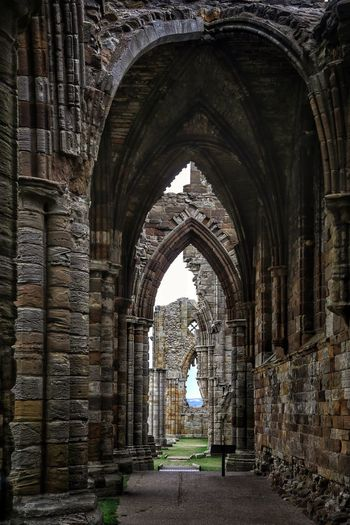 Whitby Whitby Whitby Abbey Arch Architecture Built Structure History The Past The Way Forward Building Direction Day Arcade Old No People Religion Place Of Worship Diminishing Perspective Spirituality Outdoors Building Exterior Architectural Column Abbey Stone Wall Alley