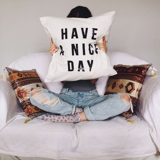 Pillow Good Morning Good Times Happy SpreadTheLove Enjoying Life Hello World Vienna Ripped Jeans Blogger