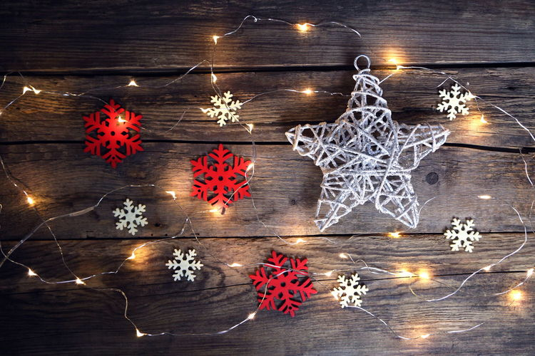 Backgrounds Celebration Christmas Christmas Decoration Christmas Ornament Christmas Tree Eco Illuminated Lights Night No People Planks Planks Of Wood Red Snowflakes Star Shape Wallpaper Water White Winter Wood Wood - Material
