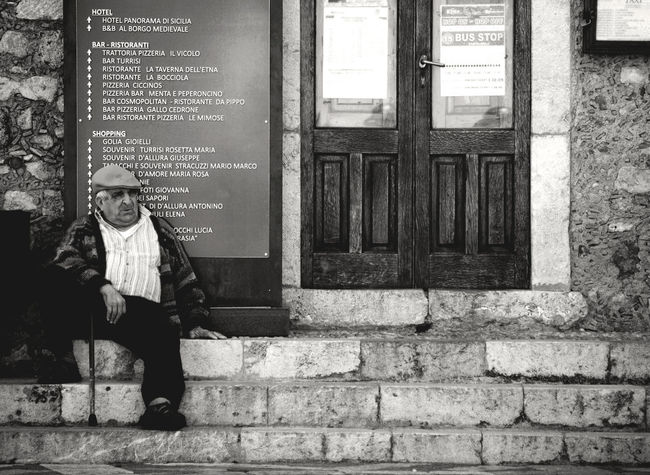 Blackandwhite Black & White Bus Stop Casual Clothing Closed Contrast Day Door Grandpa House Life Lifestyles Nikon Old Old Man Outdoors Picoftheday Picofthemoment Picoftheweek Shot Sicilia Sicily Stairs Waiting Waiting For The Bus