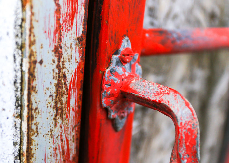 Red Color Is Powerfull Textured  Backgrounds Red Handhold Red Metal No People Rusty Outdoors Close-up Weathered Day