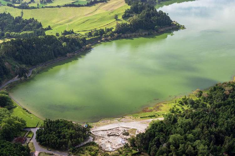View of the lake furnas in volcanic crater on sao miguel island, azores, portugal