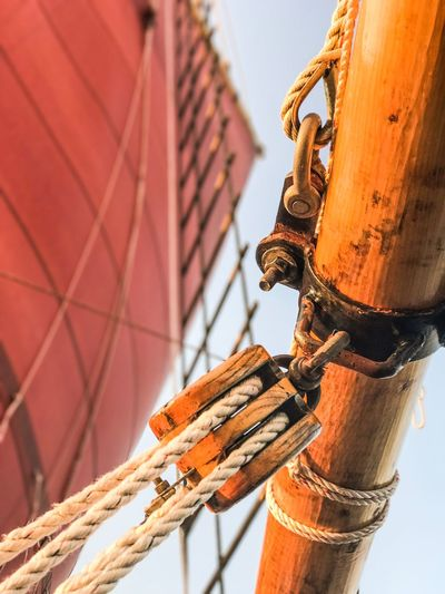 Low angle view of ship rigging