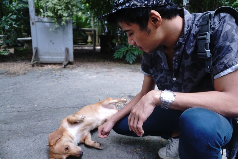 Young Man Petting Puppy Lying On Road