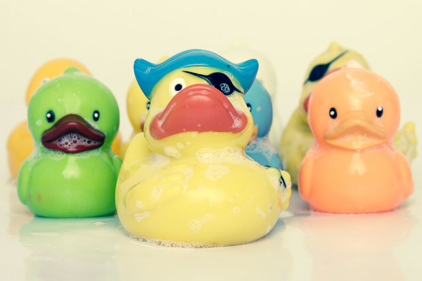 rubber Ducks play Friends Fun Kindergarten Pirate Preschool Close-up Colorful Creativity Group Of Objects In A Row Kids Toys Multi Colored No People Plastic Plastic Toys Play Playing Rubber Duck Soap Bubbles Studio Shot Team Together Toy Toy Photography Yellow