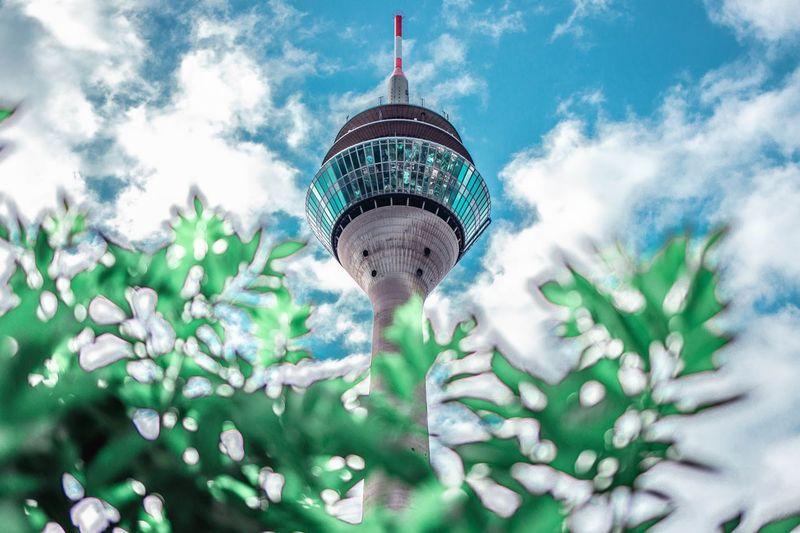 Rheintower Düsseldorf Architecture Built Structure Building Exterior Cloud - Sky Tower Travel Destinations Sky Low Angle View Nature Plant Tourism Outdoors Building Travel Tall - High City