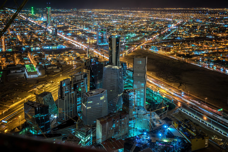 High Angle View Of King Abdullah Financial District At Night