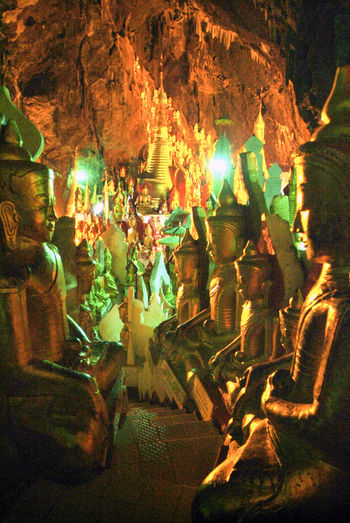 Buddha Golden Burma Illuminated Indoors  Myanmar Night No People Staue