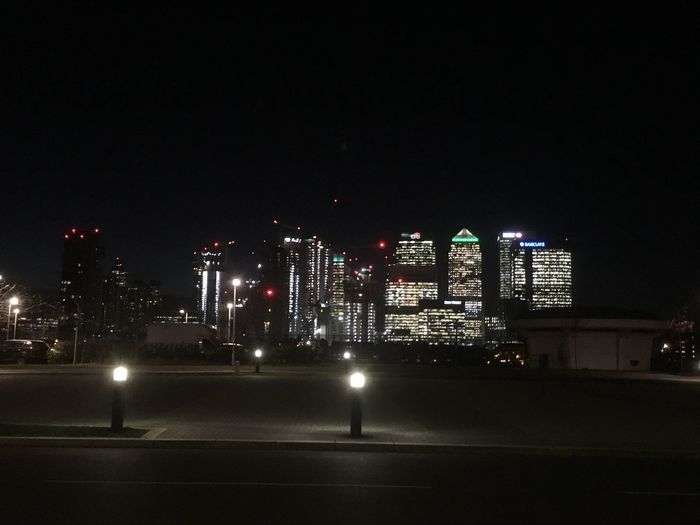 Theview Canadawharf Night Illuminated Architecture Built Structure Building Exterior City Sky