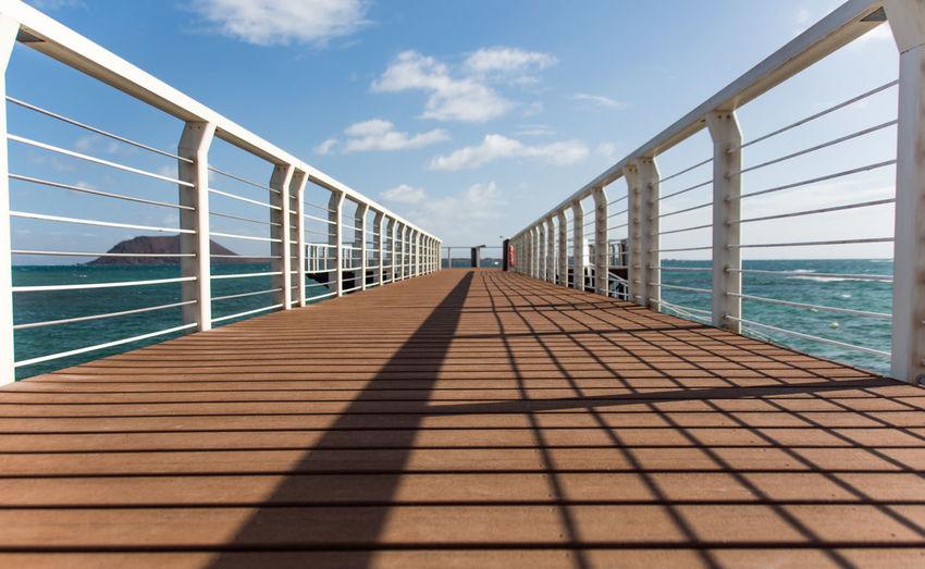 Way Landing Stage Sunshine Blue Sky And Clouds Handrail  Handrails Fuerteventura Future Summer Summertime