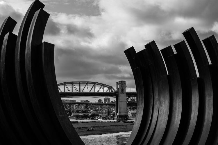 Burrard Burrard Street Bridge Cityscape Travel Destinations Cloud - Sky Sky City Urban Skyline Built Structure Building Exterior Architecture No People Outdoors Day Lowkeyphotography Eyemphotography Sculpture Vancouver, Bc Close-up Fujixseries Black And White Collection  Water Full Length Landscape Available Light