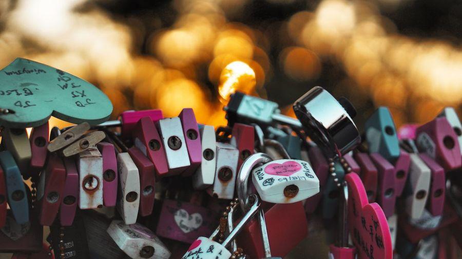 Close-up of padlocks