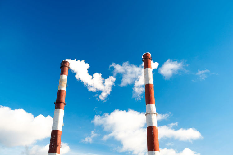 Air Blue Sky Chemical Chemicals Chimney Contamination Copy Space Dirty Energy Environmental Factory Chimneys Fumes Hazardous Polarizer Technology Two