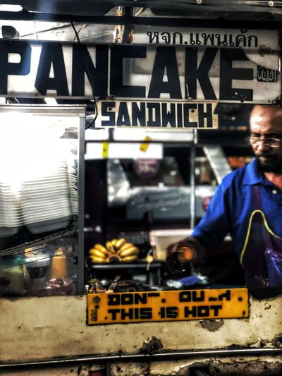 Sandwich Pancakes Koh Samui Thailand Text Real People Communication One Person Occupation Retail  Colour Your Horizn Men Working People EyeEmNewHere EyeEmNewHere Modern Workplace Culture The Street Photographer - 2018 EyeEm Awards The Street Photographer - 2018 EyeEm Awards Streetwise Photography The Street Photographer - 2019 EyeEm Awards