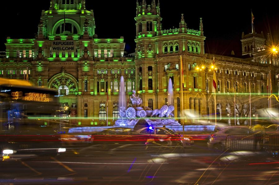 Cibeles Palace at night Architecture Building Exterior Built Structure Cibeles Cibeles Palace City Street Downtown Illuminated Light Effect Light Trail Madrid Night No People Outdoors Sculpture SPAIN Statue Tourism Travel Destinations Urban