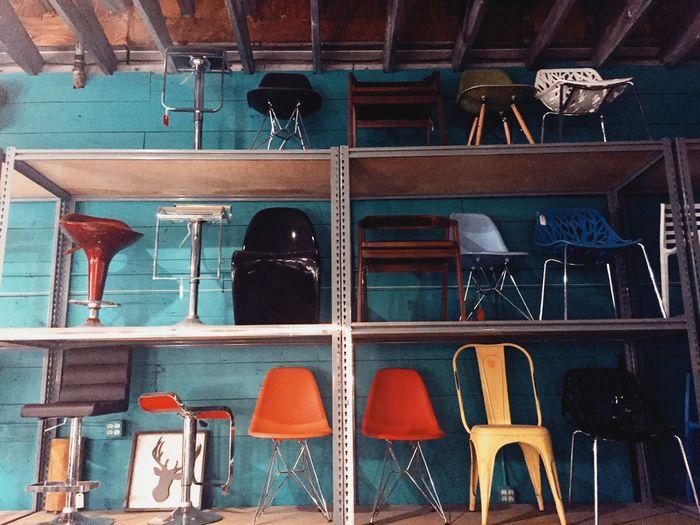 Chairs in shelf