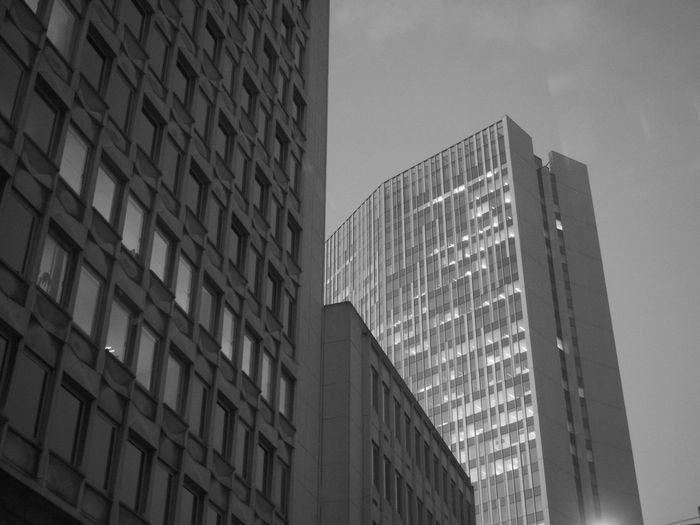 Architecture Blackandwhite Building Exterior Built Structure City City Life Day Low Angle View Modern No People Office Block Outdoors Sky Skyscraper