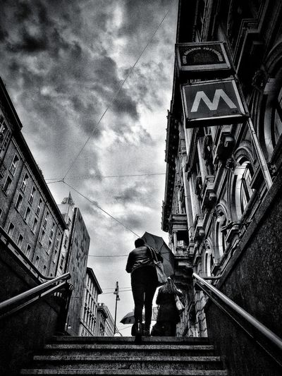 Via Torino, Milano, Ottobre 2018 Blackandwhite City Sky And Clouds Street Commuting Stairs Metro Station Building Exterior Architecture Built Structure