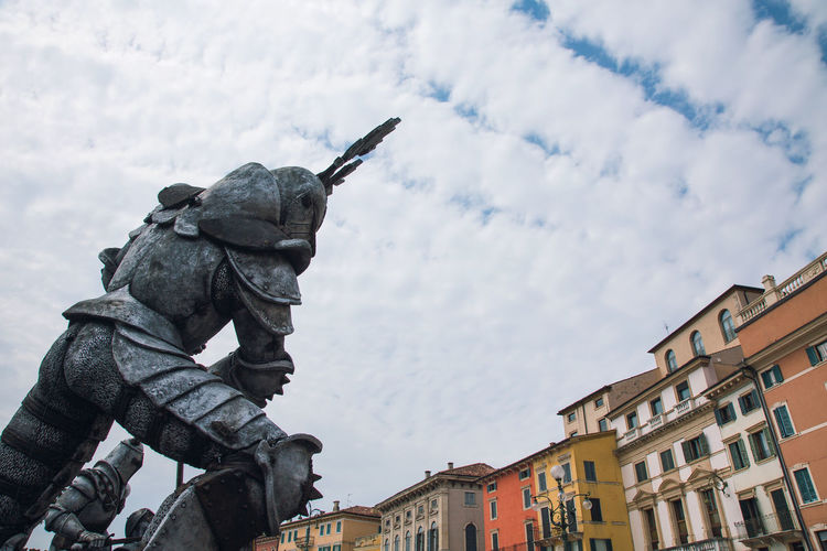 Giants in Piazza Brà. An Eye For Travel Architecture Italia Sky And Clouds Travel Photography Verona Italy Sky Travel Destinations