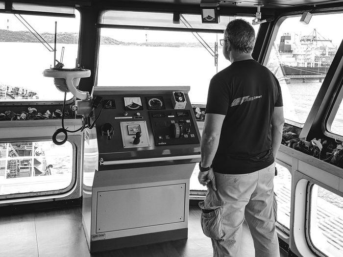 Nautical Theme Nautical Vessel Cargo Ship Life Onboard Sea City Standing Men