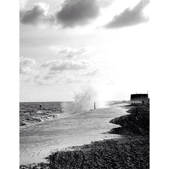 Aldeburgh Waves Sea Seaside Seascape Rough Sea Suffolk Coast