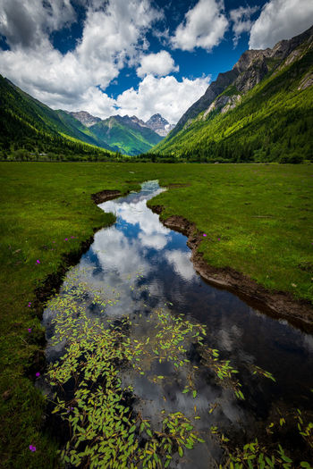 The Siguniang mountain and its reflection. Cloud - Sky Water Scenics - Nature Beauty In Nature Sky Tranquility Mountain Lake Nature Tranquil Scene No People Green Color Day Non-urban Scene Idyllic Plant Reflection Environment Landscape Outdoors Flowing Purity River Stream Reflection