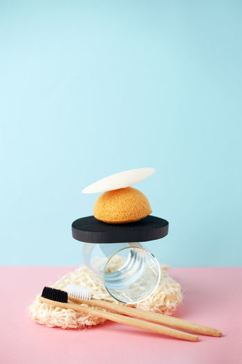 High angle view of cake on table against blue background