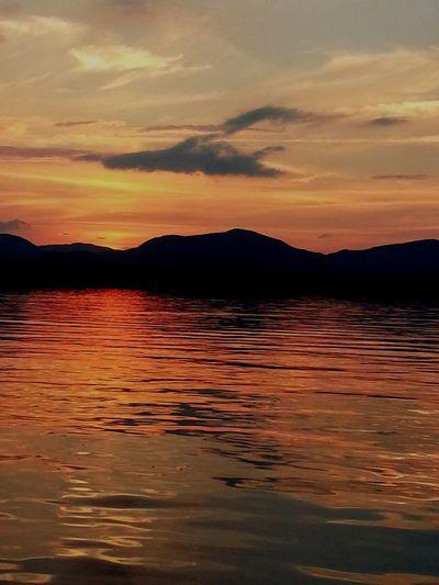 Maine Lake View Pink Sky