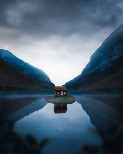 Imagination. Water Mountain Lake Cold Temperature Fog Snow Reflection Sky Landscape Cloud - Sky Standing Water Frozen Symmetry Reflection Lake Waterfront Icicle Ice Reflecting Pool Glacier Lakeshore Milky Way Countryside Iceberg