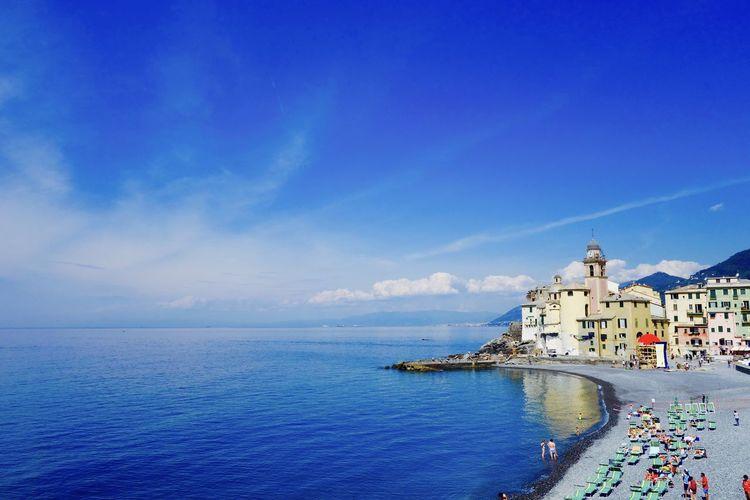 Azure Sky Beauty In Nature Blue Camogli Coastline Horizon Over Water Liguria,Italy Nature Outdoors Scenics Sea Seascape Shore Springtime Tourism Tranquil Scene Tranquility Waterfront